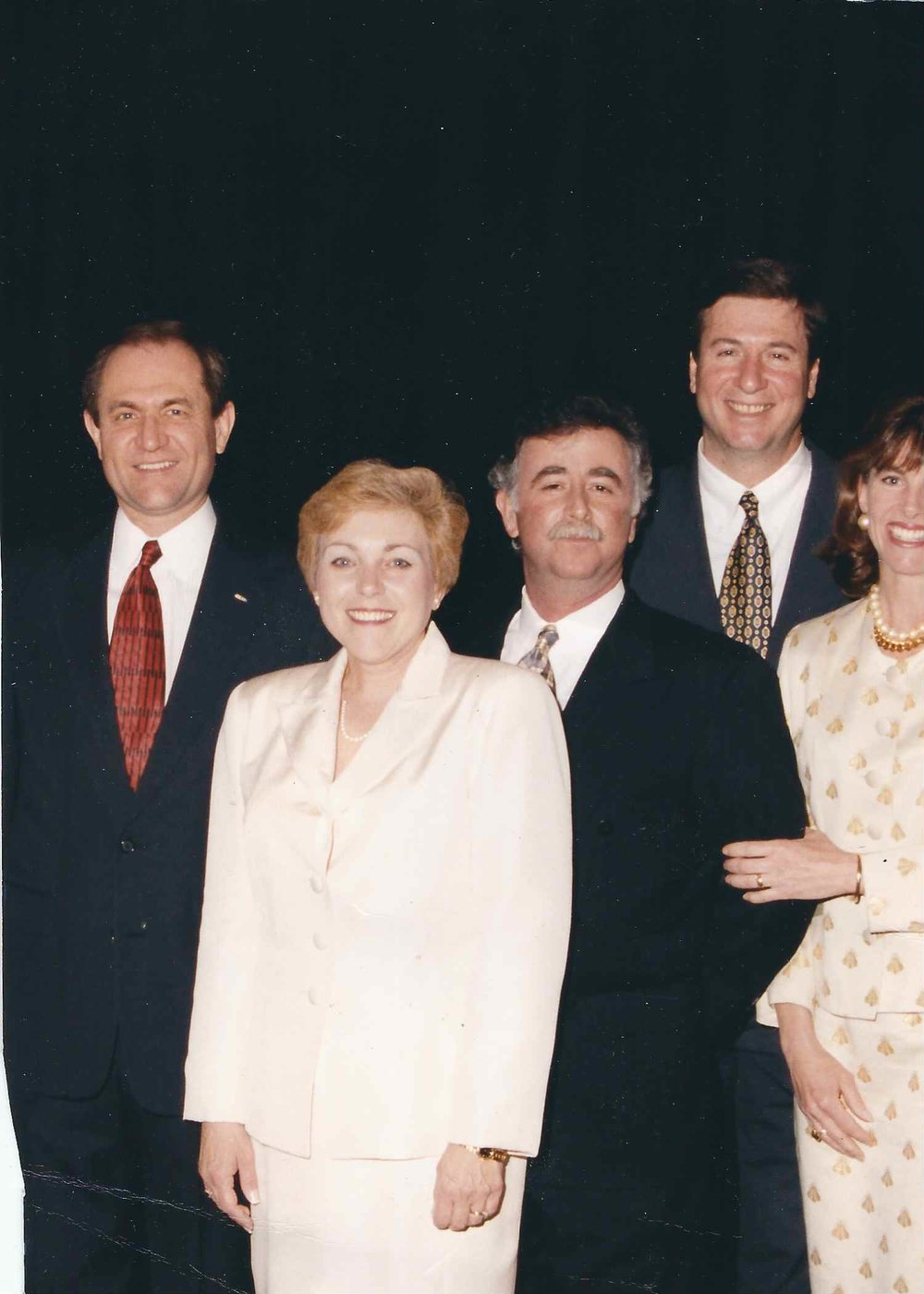 This one is from the time I had a specialty store in ladies ready to wear. I am flanked by outgoing Governor George Allen and wife   Susan, and incoming Governor Jim Gilmore and wife Roxanne. I felt fortunate to serve a number of elected officials and spouses.