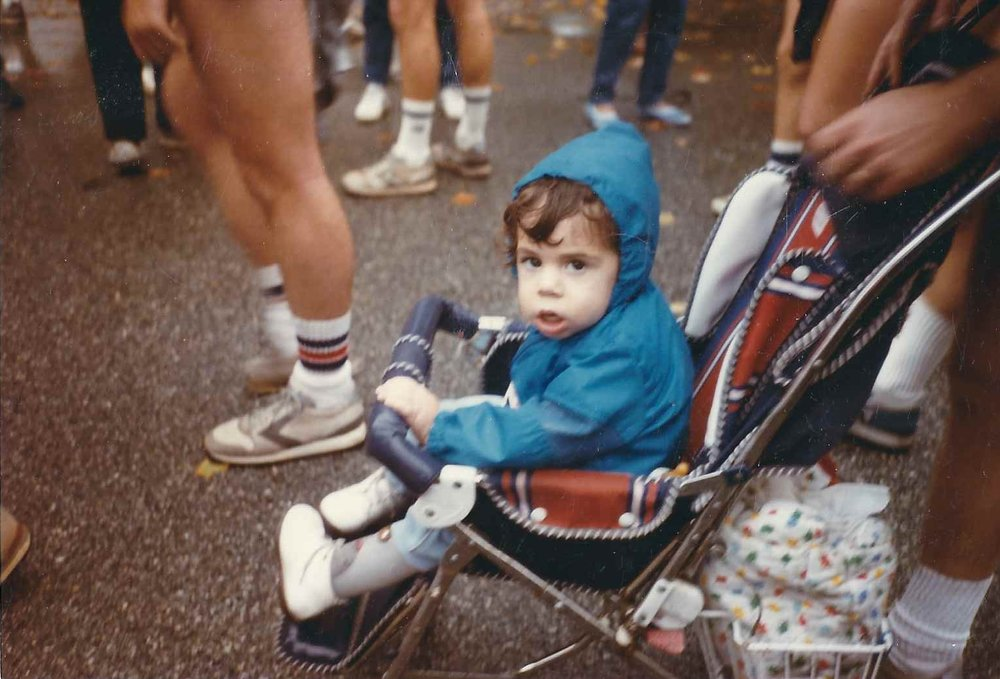 This is our youngest,  Herbie who has MD. At age 8 months he became the youngest official entrant in  the history of the Richmond marathon. This was taken the next year; he was unable to break his own record.