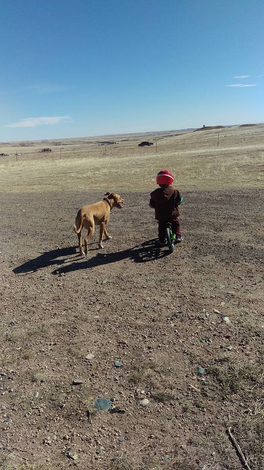 What  matters most to me? My son and my dog - taken west of Cheyenne.