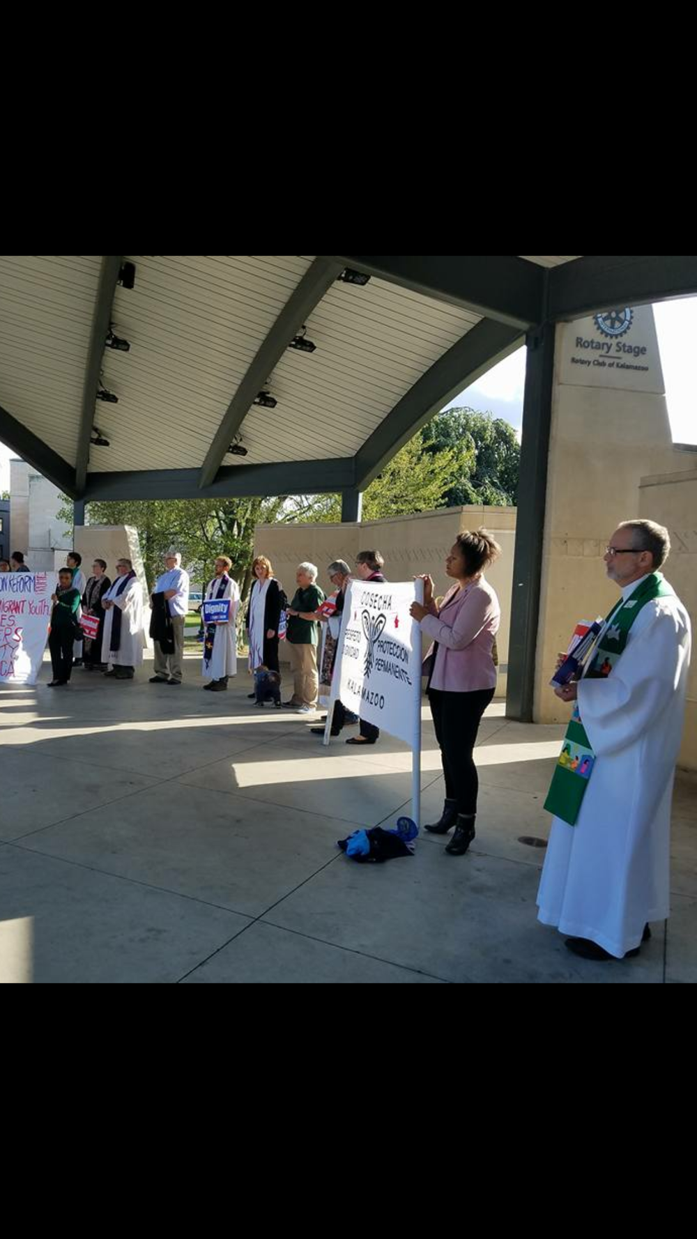 Picture including me; 9-6-17 Kalamazoo with other clergy in protest in support of DACA