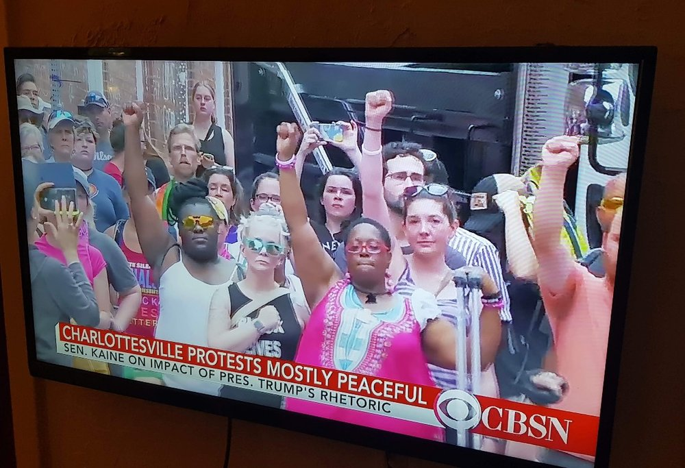 Buddy sent   me this from San Diego, CA. He was watching protest footage of   Charlottesville and we were captured while surrounded and threatened by  police.