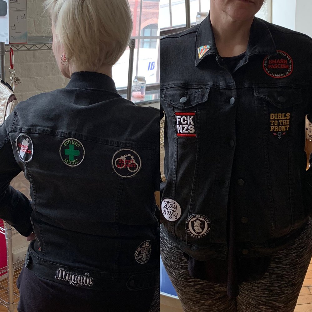 My jacket:   a work in progress. Patching it with intent. Reminder that we are fighting   structures of evil - not just cops, politicians, Nazi, Klan members, and   other supporters of white supremacy - but those structures and systems that  keep WS and whiteness centered.