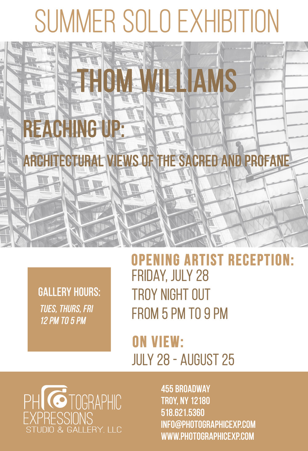 SUMMER SOLO EXHIBITION: Thom Williams, Reaching Up: Architectural Views of the Sacred and Profane
