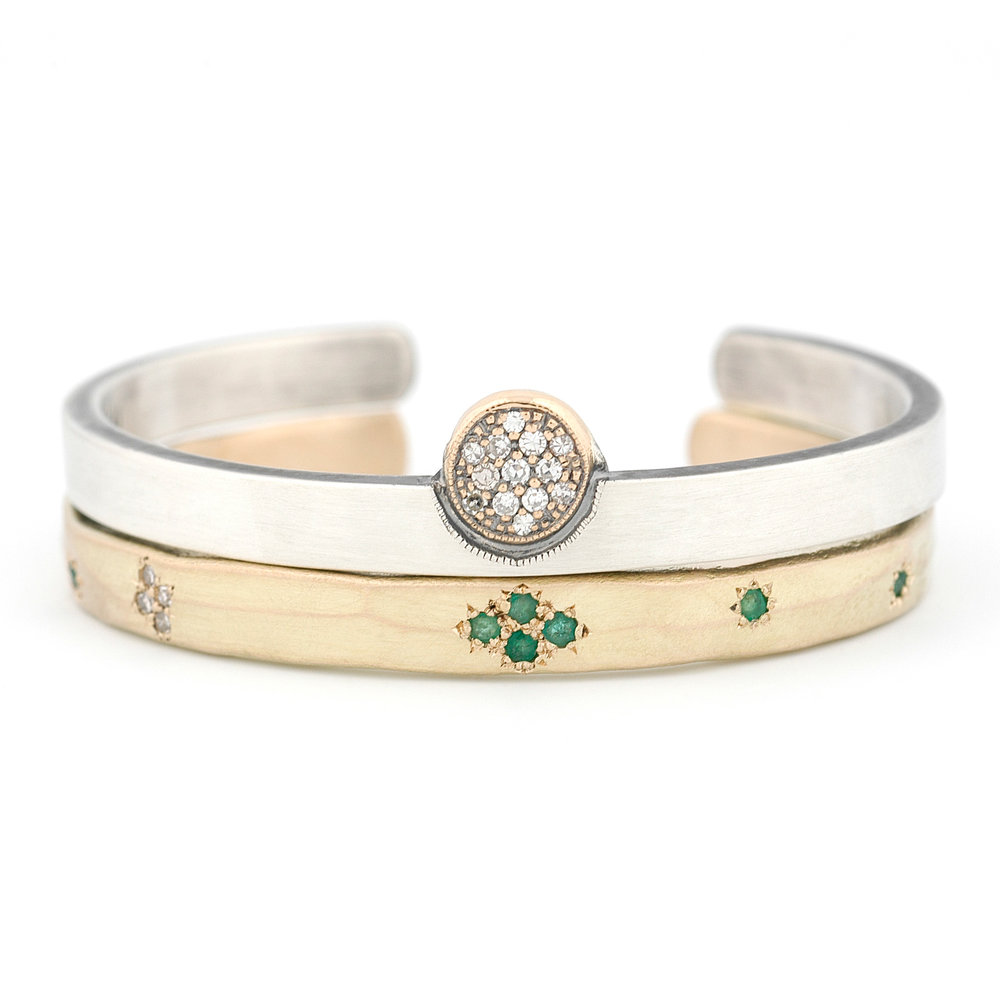 Custom Gold & Sterling Cuffs with Heirloom Diamonds & Emeralds