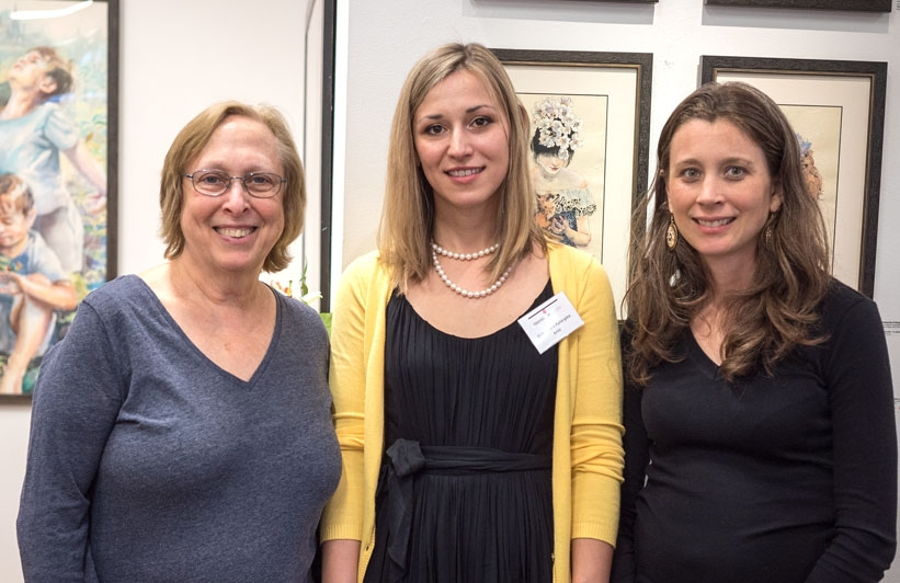 Anita Miller, President of the Board, Touchstone Foundation for the Arts; Alexandra Katargina,  Touchstone Foundation for the Arts Emerging Artist Fellow (2013-2015) and Rachel Dickerson, Board Member, Touchstone Foundation for the Arts.