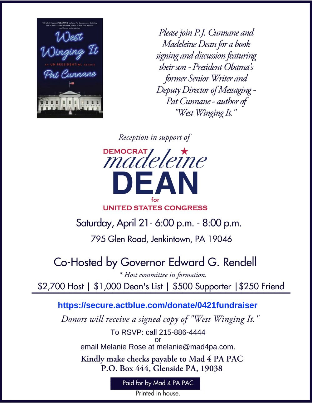 Copy of Copy of Please join P.J. Cunnane and Madeleine Dean for a book signing featuring Pat Cunnane author of _West Wingin' It_ for a reception in support of.jpg