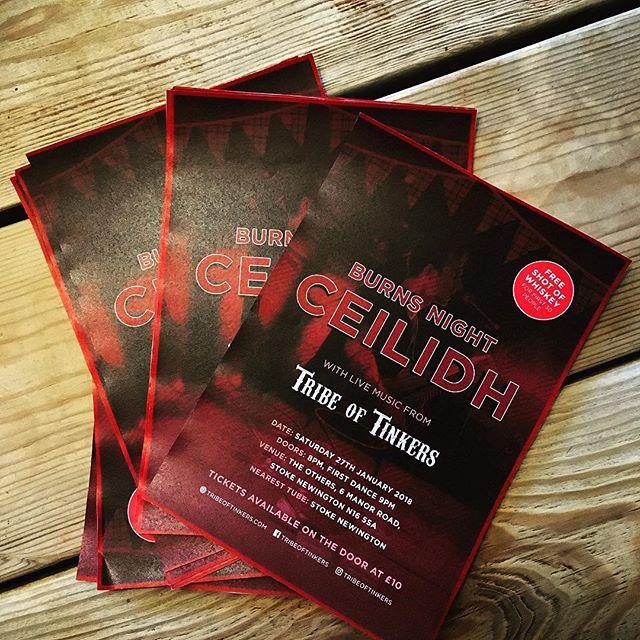 Only three weeks until we host our Burns Night Ceilidh at The Others in Stoke Newington!  #livemusiclondon #ceilidh #burnsnight #stokenewington #london #music #folk #dance #freewhiskey #londongigs #january #scottish #northlondon #scotsinlondon #tribeoftinkers