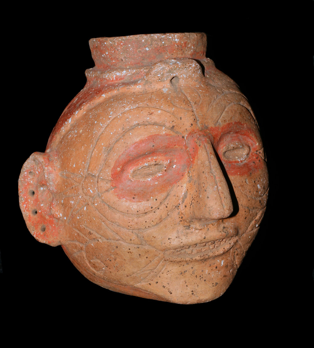 Headpot depicting a distinguished elder. Found at the Campbell site, Pemiscott County, Missouri.