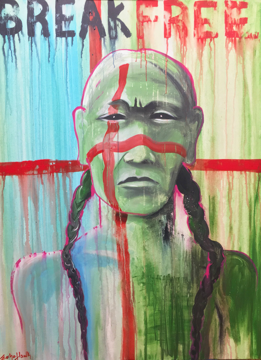 Break Free | acrylic on canvas | Bunky Echo-Hawk | created LIVE in 2018 at the Museum of Native American History Museum Cultural Symposium