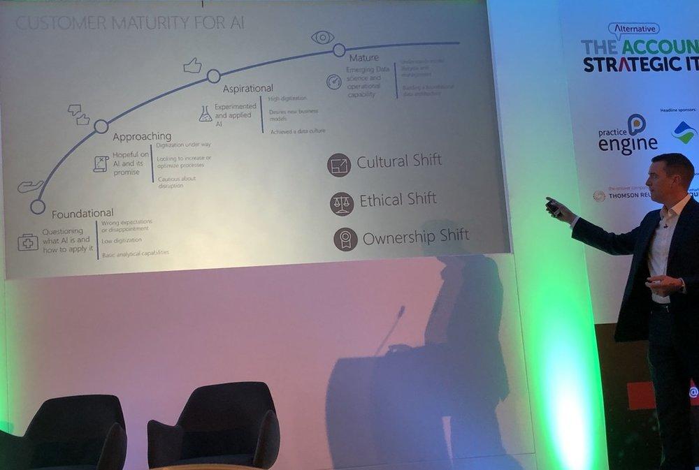 Robert Pope, Microsoft, speaking at  Alternative Accountancy Strategic IT 2019