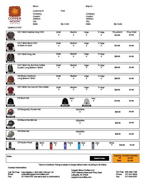 Swag Order Form