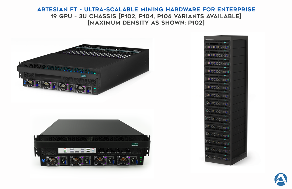 A single cabinet with this level of density can contain as many as 266 GPUs! Applications go far beyond mining and into the enterprise data processing space.