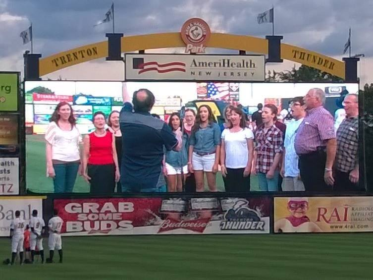 The Boheme Opera Chorus performs the national anthem for our hometown team- The Trenton Thunder