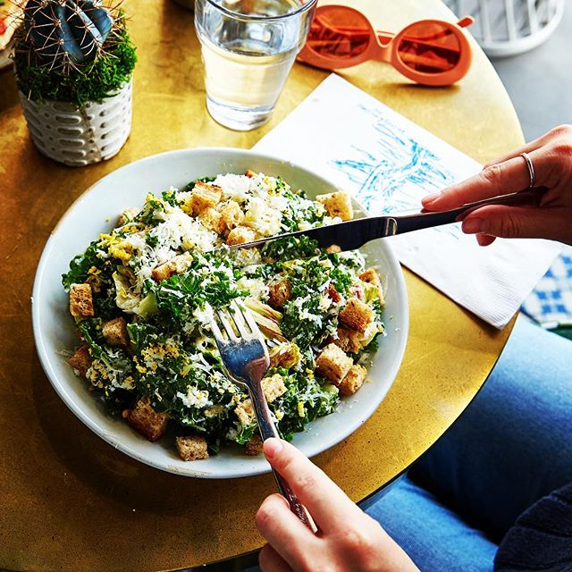A little pre-Thanksgiving healthy eating this week with our Kale Caesar Salad. #thegablesla