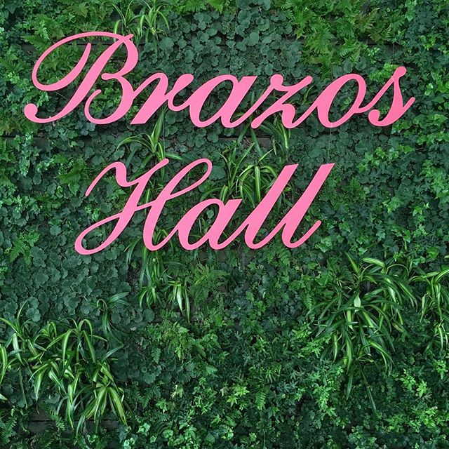 Have y'all seen @brazoshall new living wall yet? It's absolutely beautiful and breathes fresh life into the space.  We enjoyed making this pink sign to hang on it for a luncheon recently!