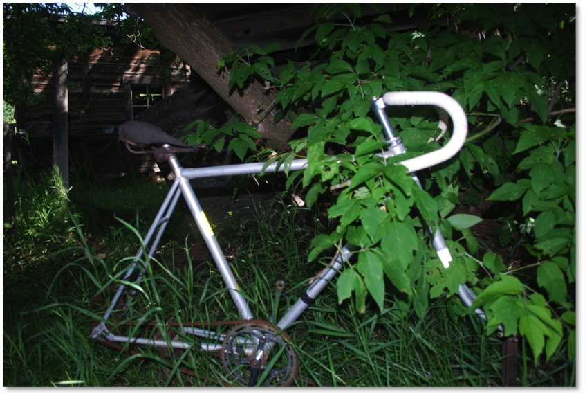 "Here we find the bicycle ""in situ"" or ""in its original place."" On the right of the photo, part of the stand or frame is noticeable. There is a modification to the original frame which would have kept the bicycle, and perhaps the operator, upright while they used the ""machine"" for whatever purpose."
