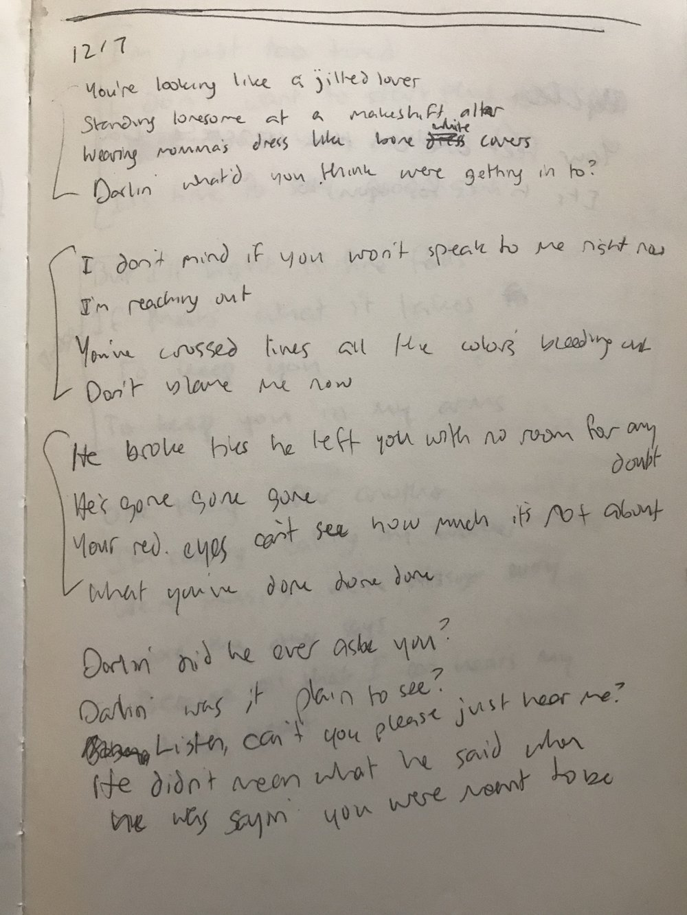 this is the first version of jilted lover that we could find. jonny has terrible handwriting.