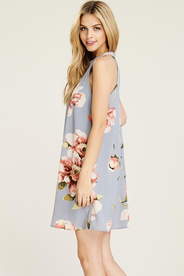 a329da96507f Grey Floral Halter Dress — Urban.ish