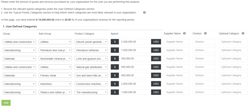 Screenshot of a sustainability spend analysis tool the IERS team developed.