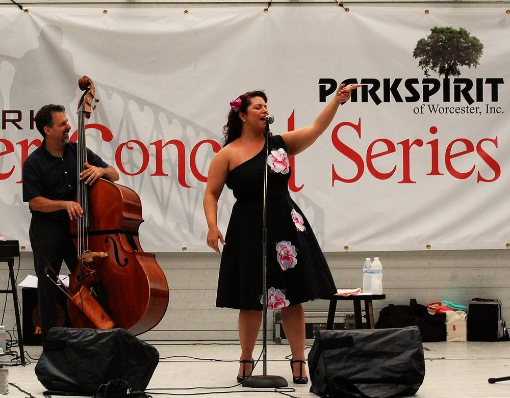 Jen Antkowiak performs at Elm Park on Thursday, July 20th, 2017.