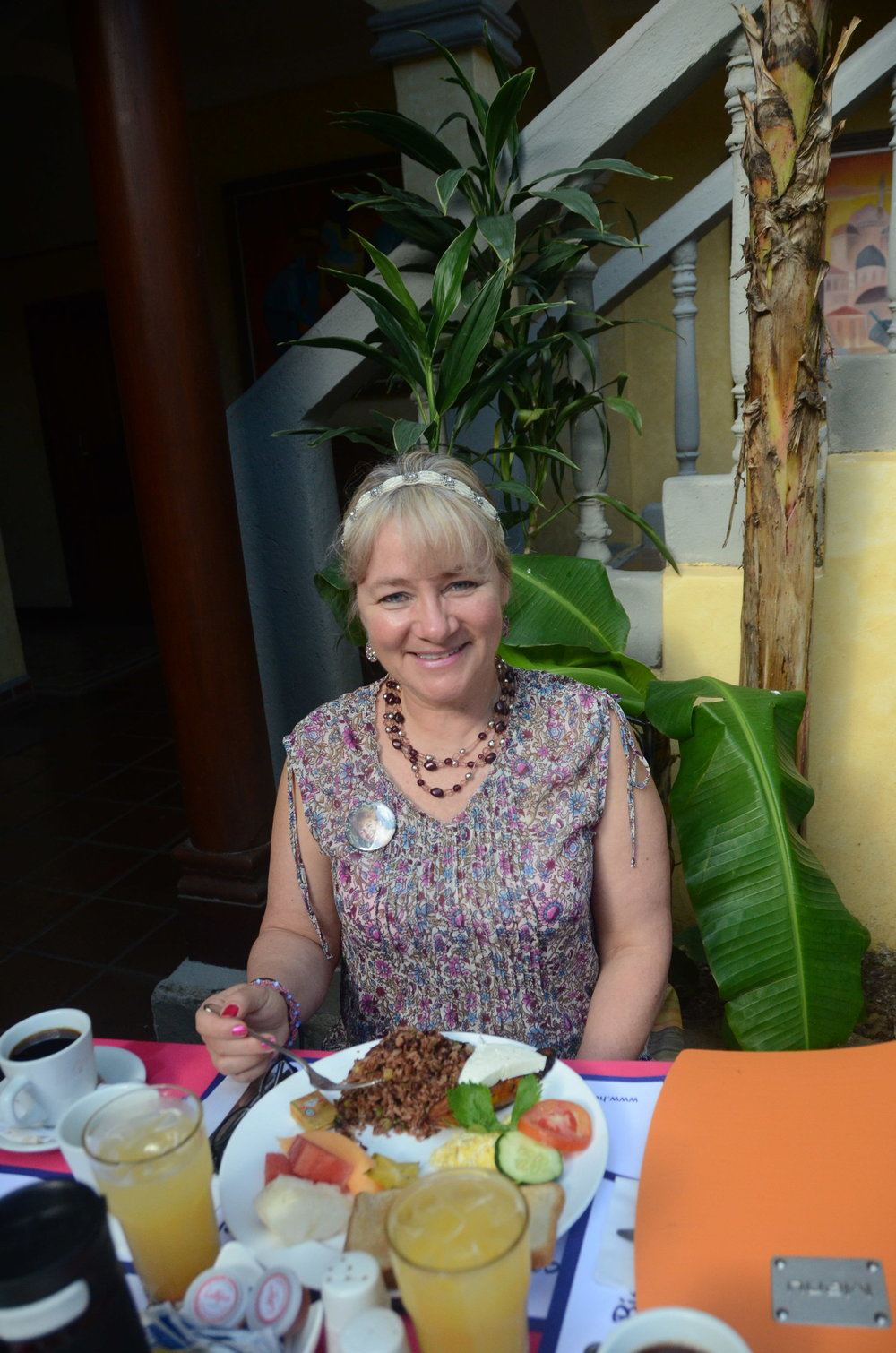 My beautiful friend Amy with a lovely breakfast at hand.