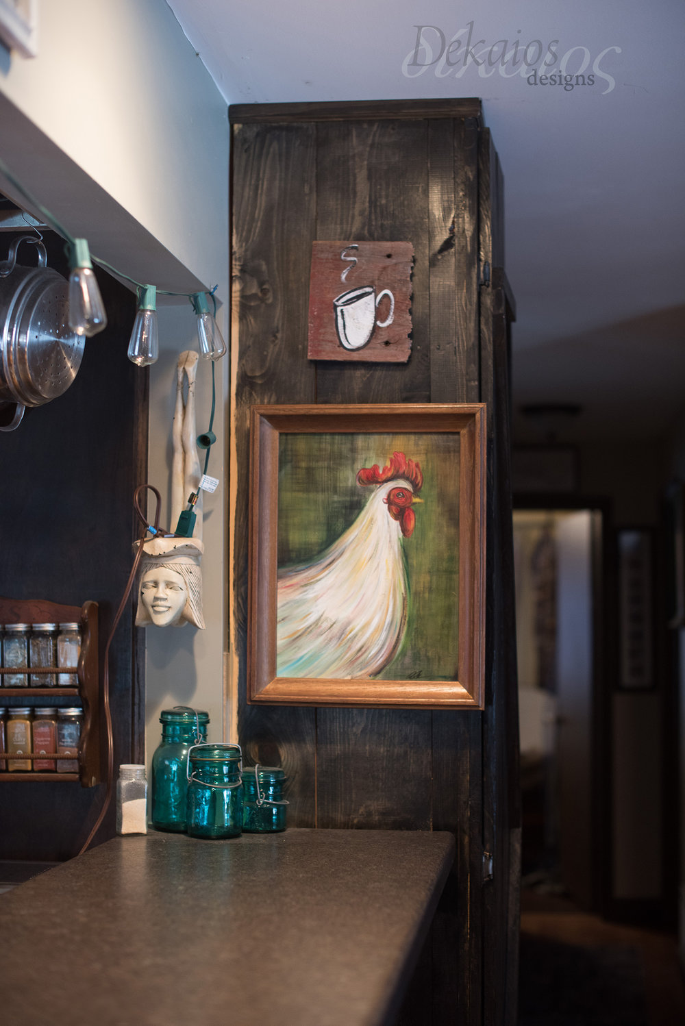 Both the rooster painting and the coffee cup are fun paintings I enjoyed making. Both Acrylic. The Rooster can be seen right now on the walls at the Silver Coach Restaurant.