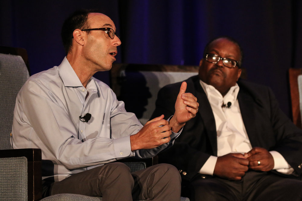 Adam Winkler, Professor of Constitutional Law, UCLA (left), and Greg Moore, Executive Director of the NAACP National Voter Fund (right).