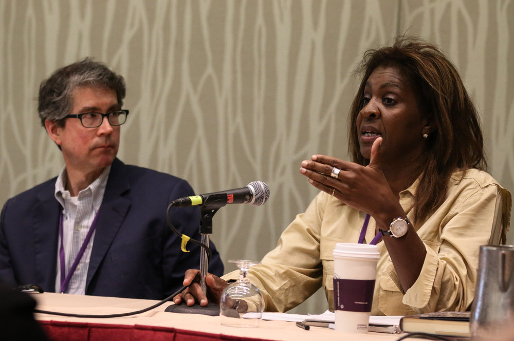 John Bonifaz, President of Free Speech for People (left) and Wendy Fields, Executive Director of Democracy Initiative (right)