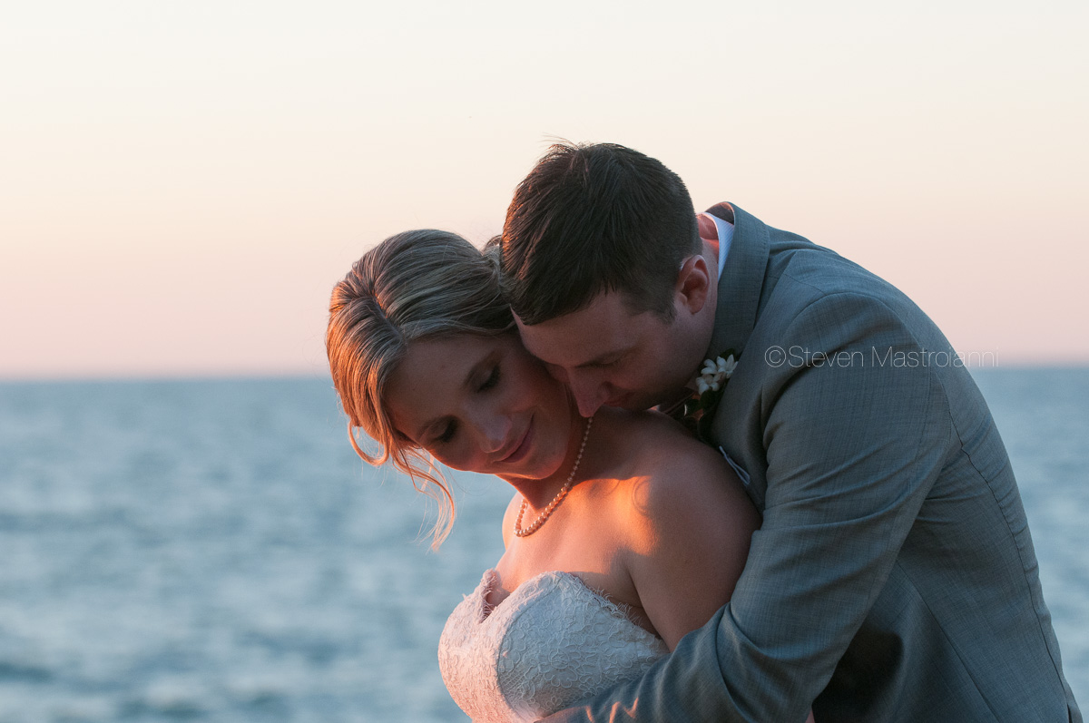 sunset wedding photos on Lake Erie
