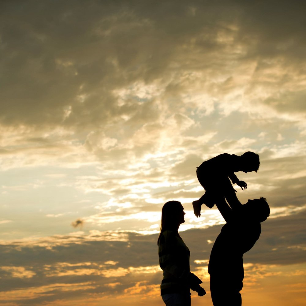 family beach portrait silhouette image