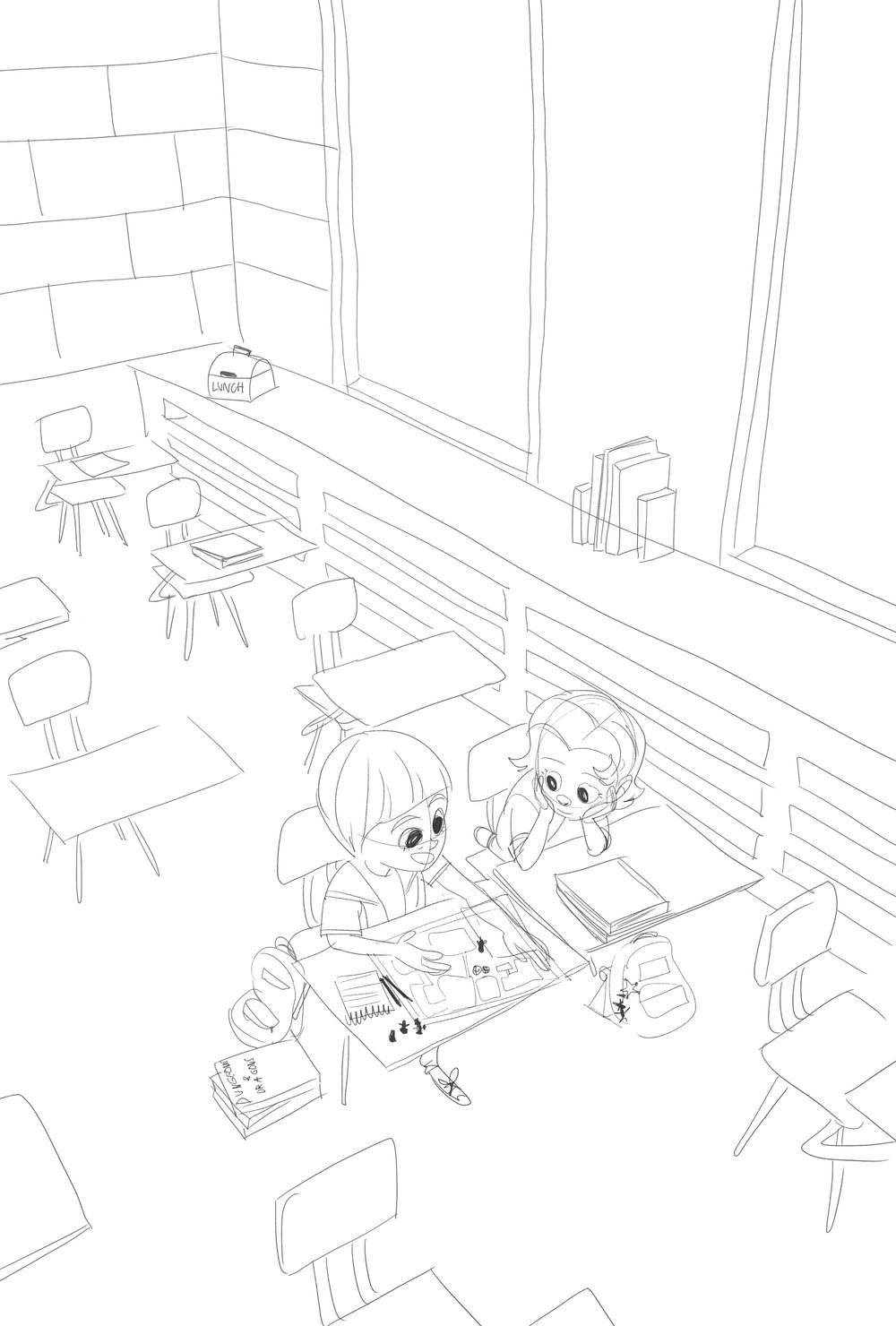 Here was the sketch I did, depicting Will Byers tutoring the newly Jane Hopper after school in Dungeons & Dragons.