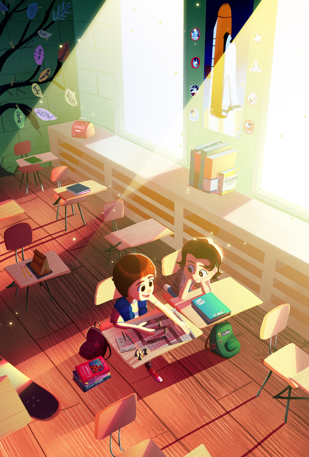 This is the final illustration for the zine, featuring a warm and glowy classroom safe from the horrors of the upside-down :)