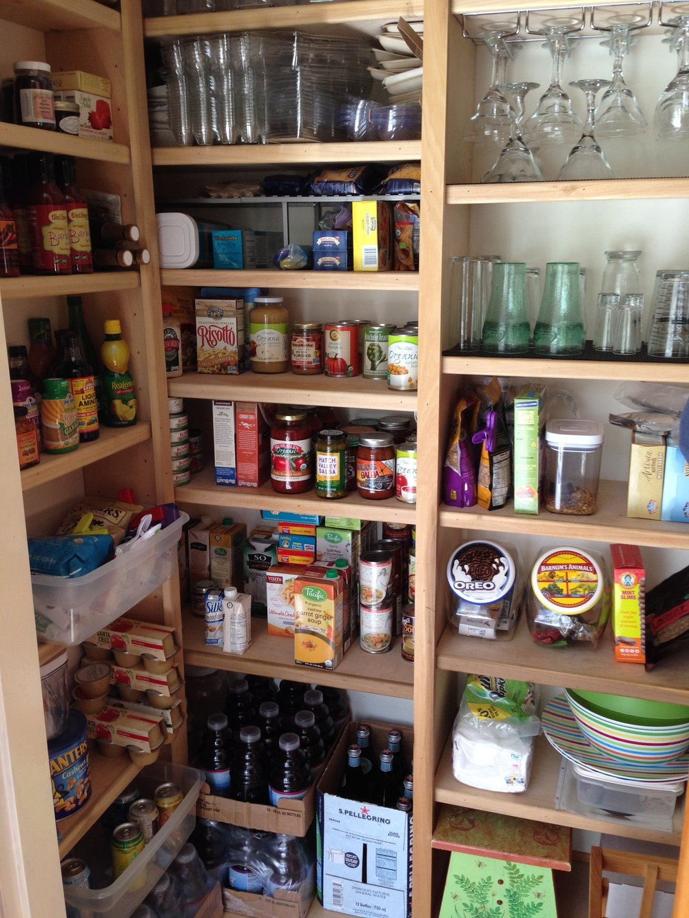Newly arranged pantry with all the outdated food gone.