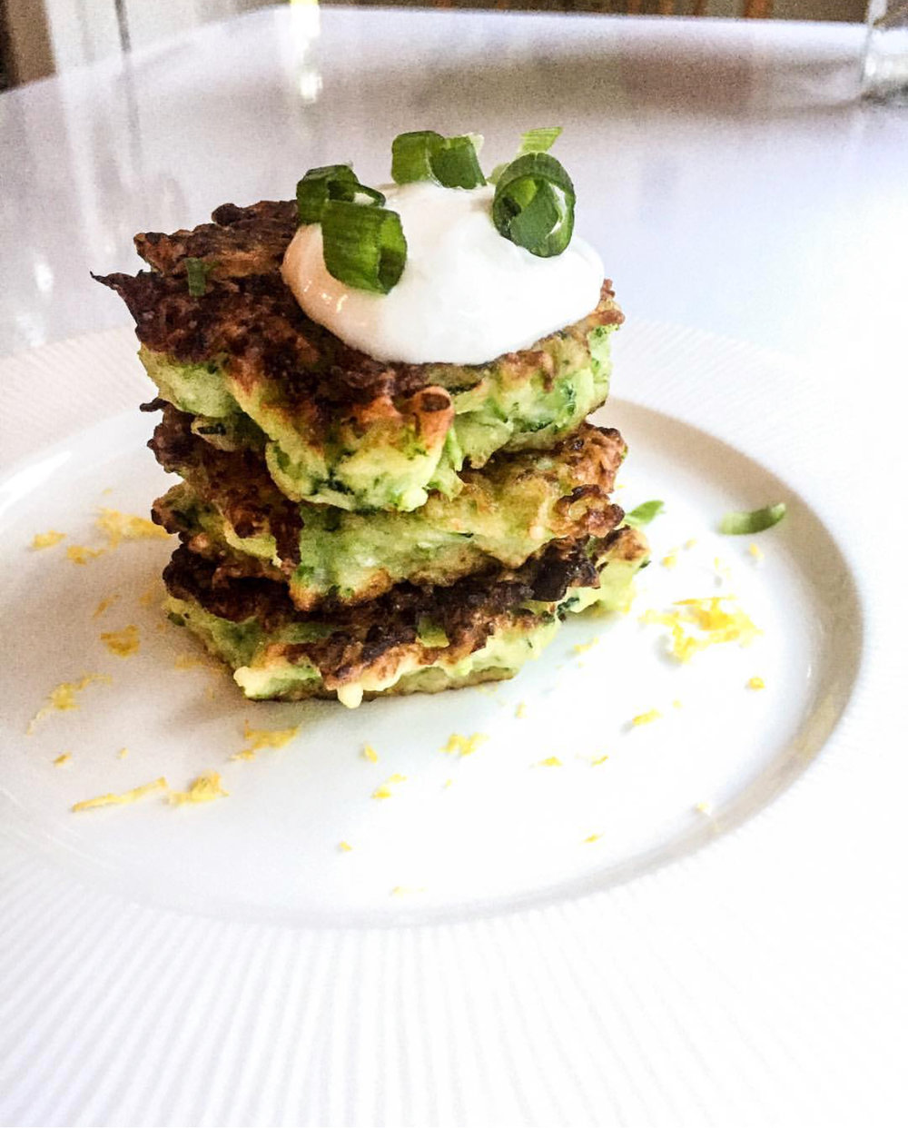 Delicious Zucchini fritters from Hanging Out In the Kitchen.