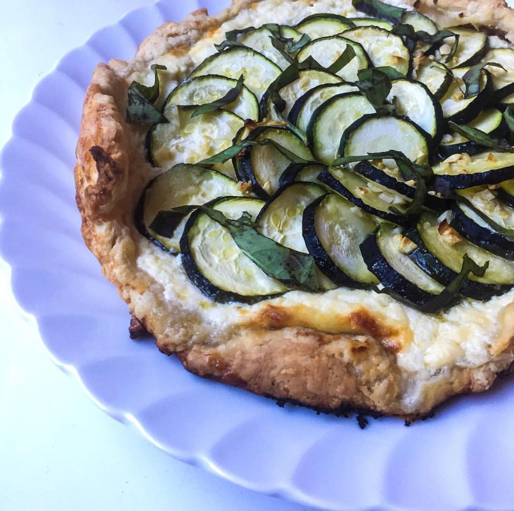Almost pizza: a delicious zucchini galette from  Hanging Out In the Kitchen .