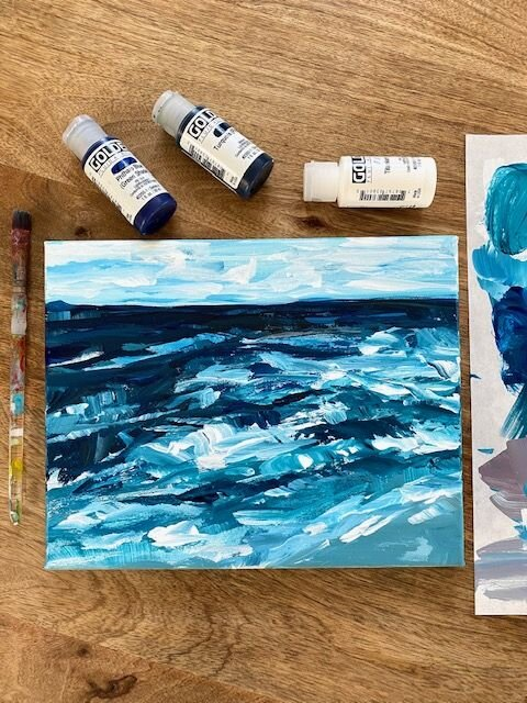 Acrylic Painting For Beginners Step By Step How To Paint An Abstract Seascape On Canvas Elle Byers Art