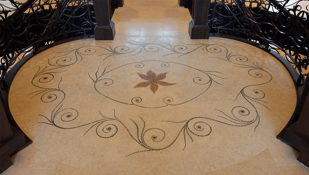 Tuscan Inspired Limestone Mosaic Floor