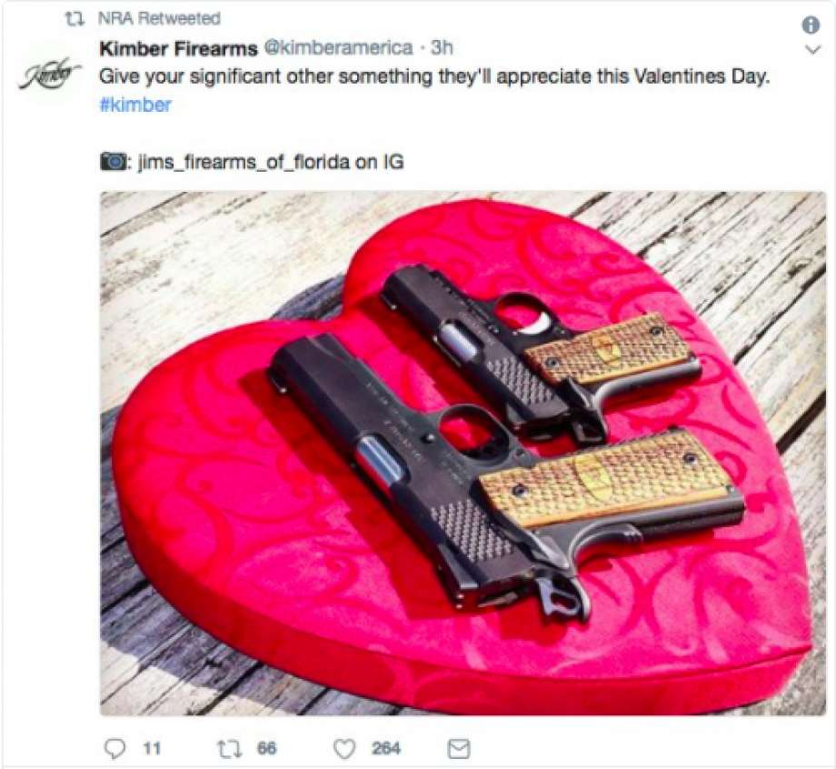 Happy Valentine's Day from the NRA! A tweet removed after seventeen people died in Florida.
