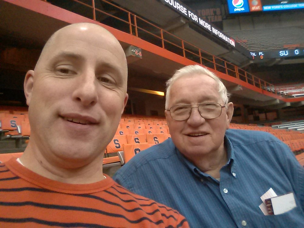 Dad and me, mid-court, row G, Carrier Dome, just before tip-off of SU Women's Basketball.