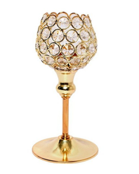 Gold Crystal Tea Light Stand -