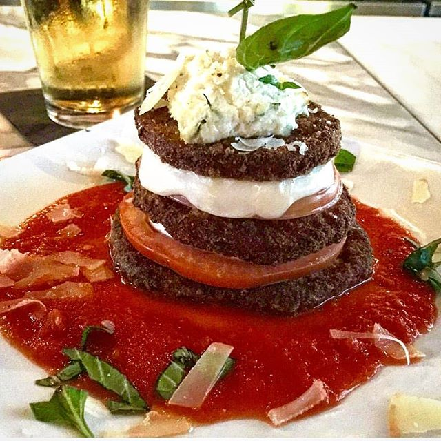 Today is a great day to try our Eggplant Tower: pan-fried cutlets with mozzarella, tomato and ricotta over marinara!