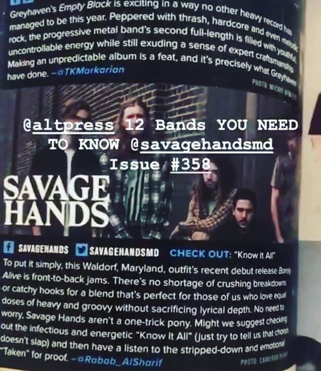 Big thanks to @altpress for including us in their bands you need to know section!! Loving the write up @ralshari  Go pick up a copy 🖤 #savagehands #sharptone #barelyalive #allsummerlong