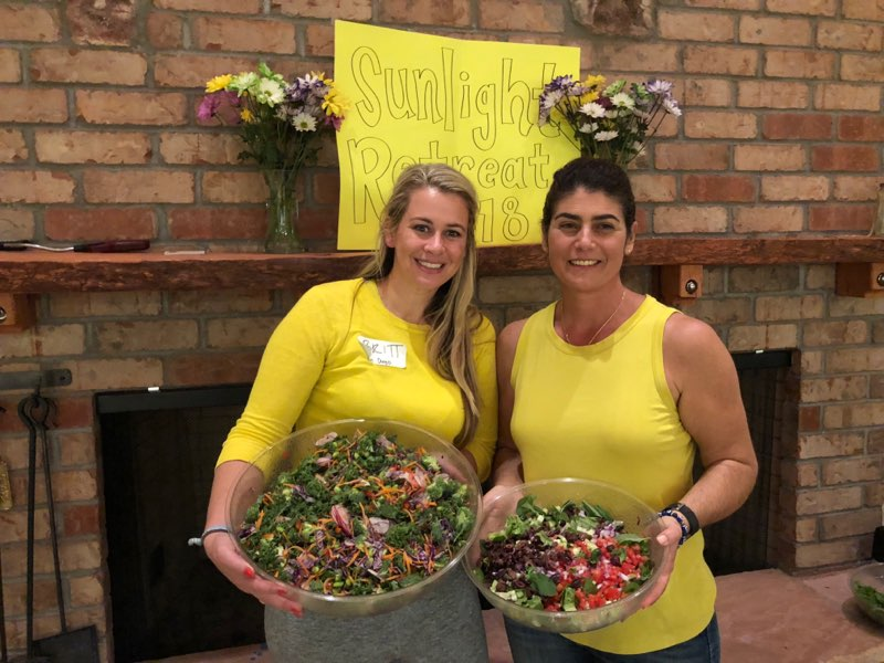 Sunlight Retreats Founder Brittany Catton Kirk and Stella Stehly of Stehly Farms.