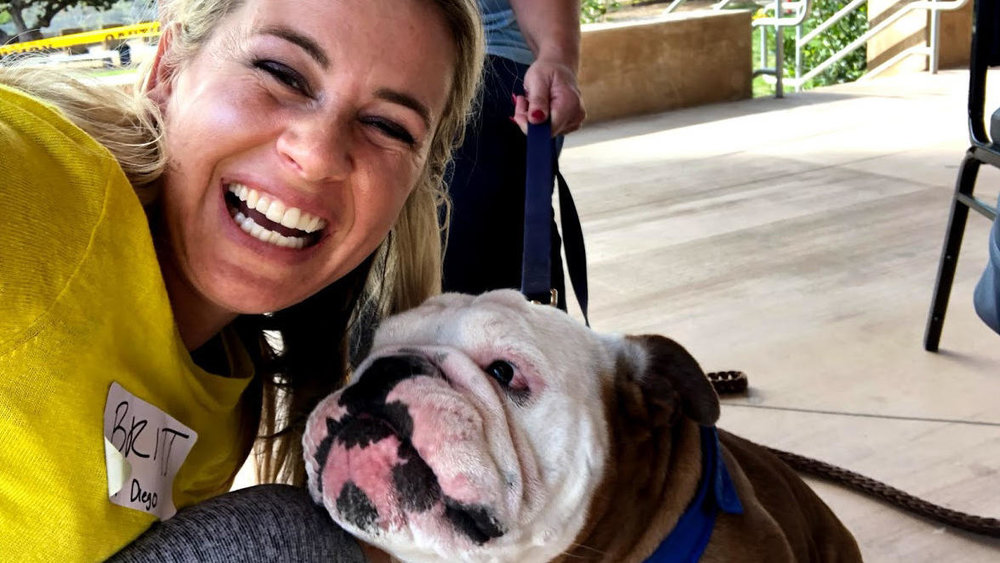 Founder Brittany Catton Kirk enjoys some pet therapy during Sunlight Retreats' first retreat for rape survivors, held in San Diego in January of 2018. A second retreat is scheduled for Aug. 24-26, 2018. (Courtesy photo)