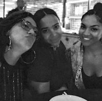 Claudia, Zoila Darton, Lisenny Album wrap-up dinner party-Los Angeles