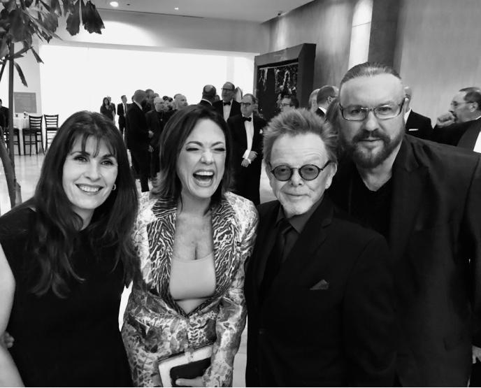 Gabriela Gonzalez, Claudia Brant, Paul Williams y Desmond Child, Fiesta Pre Grammys de Clive David - Feb 2019