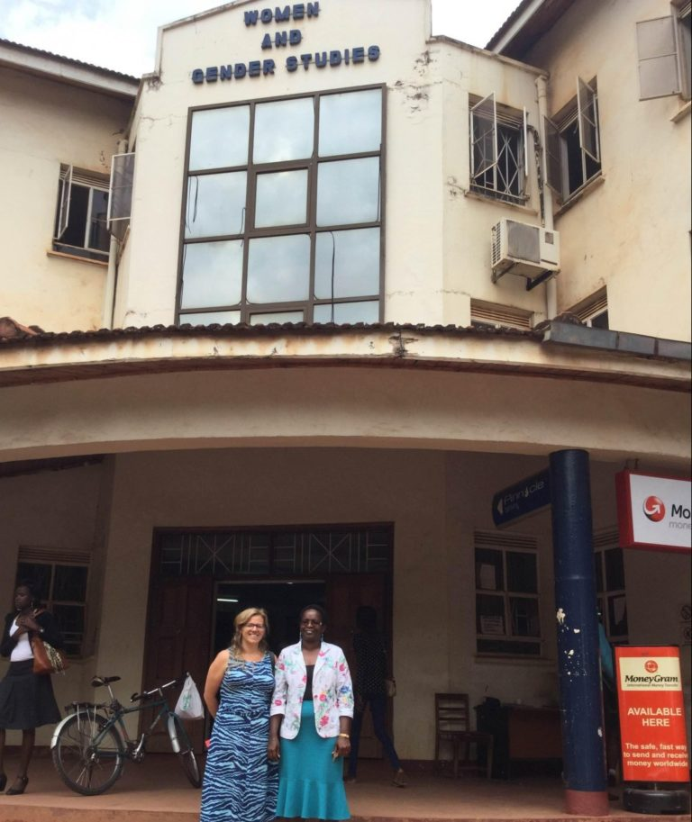 Jennifer and her onsite mentor Dr. Florence Kyoheirwe Muhanguzi outside the Department of Women and Gender Studies.