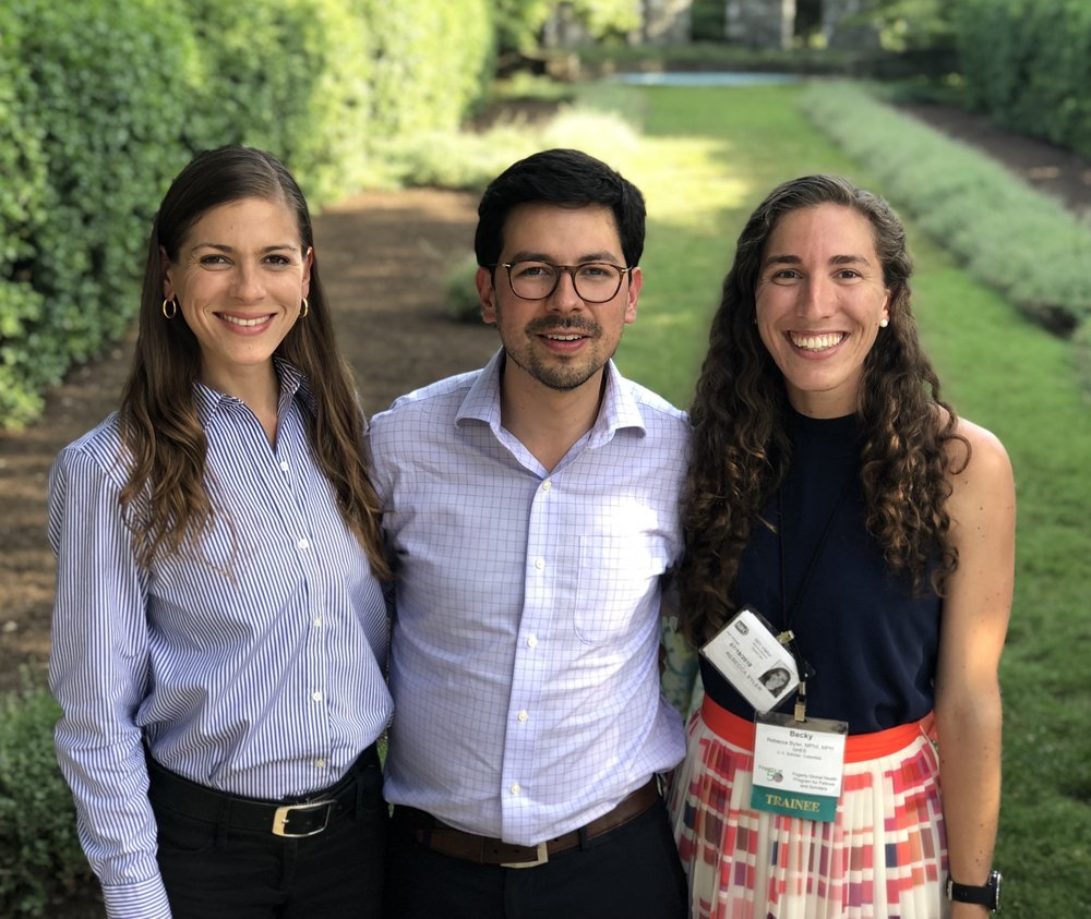 Current Fellows in Colombia - From left: Ana Lucia Rodriguez, US FIU Student Scholar at  the Universidad de los Andes, Felipe Montes LMIC Stanford fellow at the Universidad de los Andes, and Rebecca Byler US Yale Student Scholar at CIDEIM.