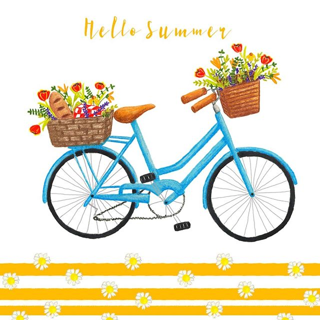 Forgot to share this yesterday on the actual first day of summer but, oh well, better late than never right? Anyways, there's a new free desktop wallpaper on the blog of this cute bike illustration if you wanna go download it 😊