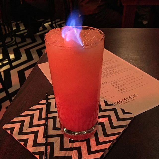Diane, I'm currently sitting before an adult beverage named Fire Walk With Me. #twinpeaks #roadhouse #twinpeaksrestaurant #dougiejones #dalecooper #laurapalmer #bob #redroom #blacklodge
